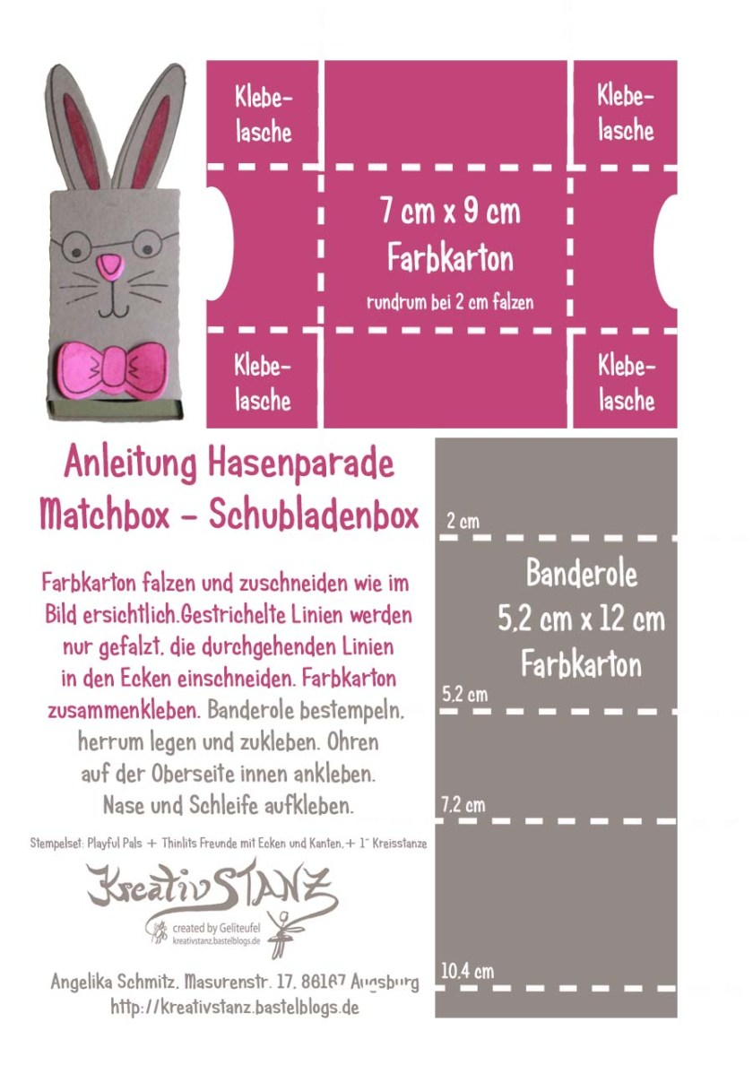 KreativStanz Anleitung Tutorial Matchbox Thinlits Freunde mit Ecken und Kanten, Stempelset Playful Pals von Stampin' Up! Verpackung Ostern Easter Hase #stampinup #tutorial http://kreativstanz.bastelblogs.de/